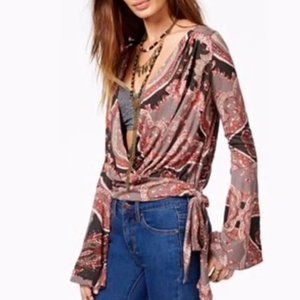 Free People Fiona Paisley Bell Sleeve Wrap Blouse